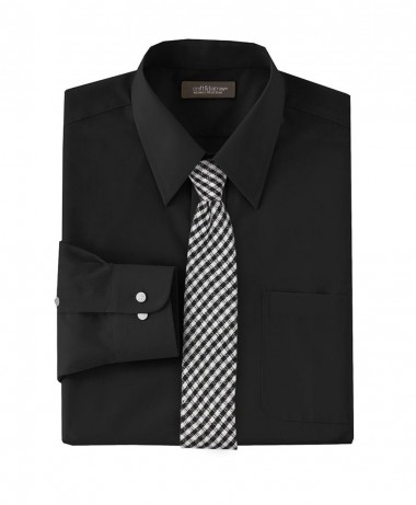 black micro check skinny necktie