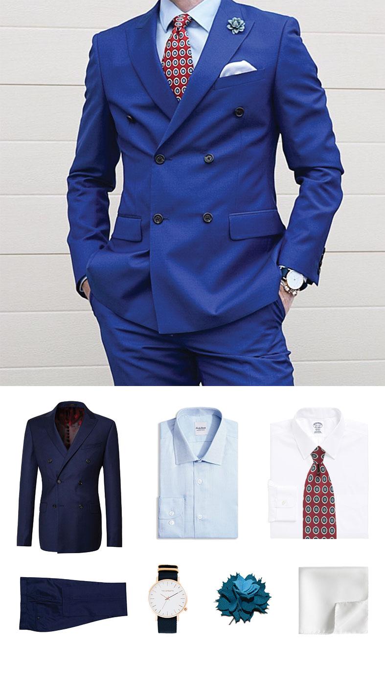Port Wine Tie and Blue Suit