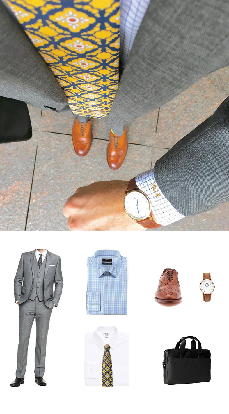 Gray Suit and Tile Tie