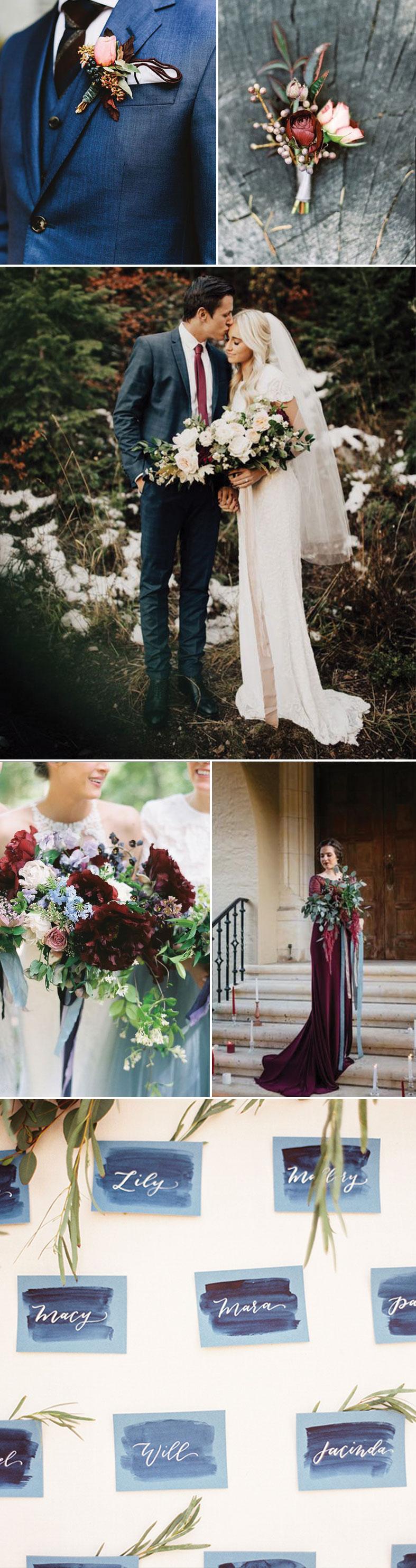 Wedding Ideas In Burgundy And Dusty Blue Groomsmen Accessories In