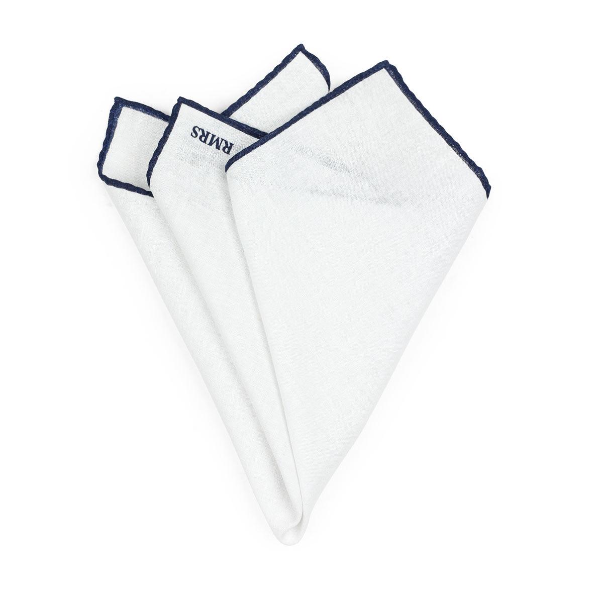 Linen Pocket Square White Navy
