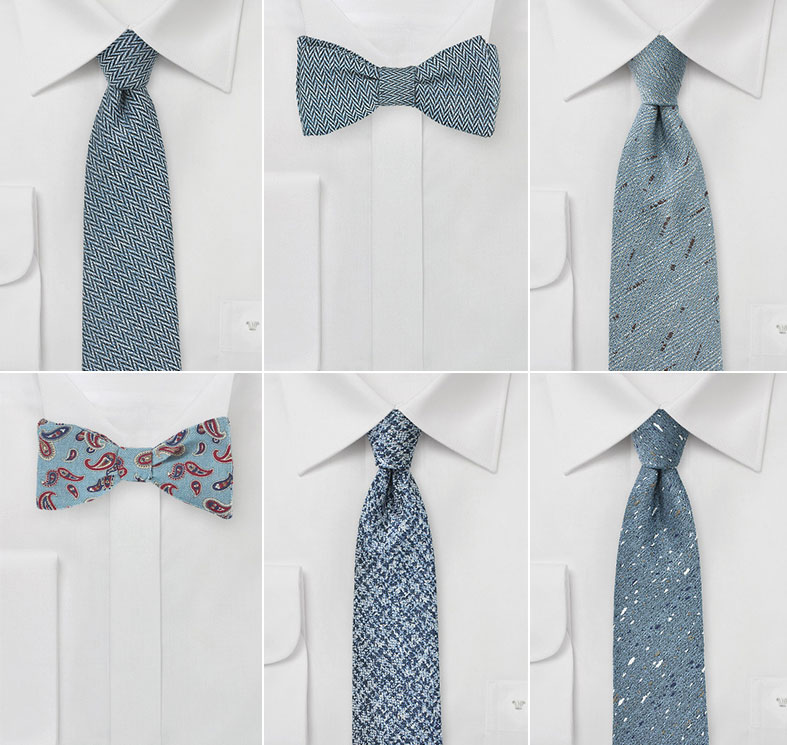 Slate Blue Wedding Ties And Bow