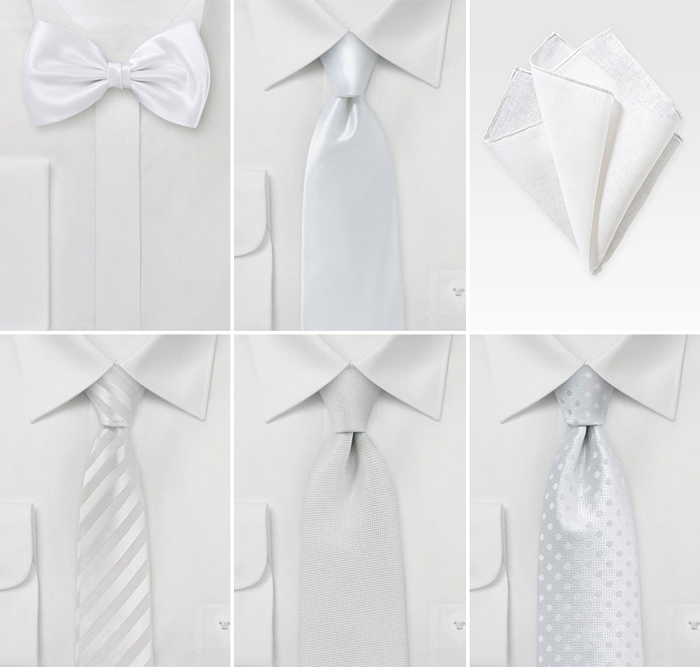 Groomsmen Ties  in White