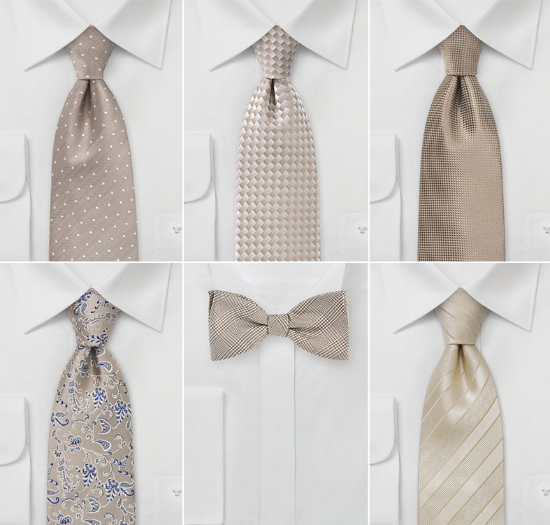 Wedding Ties in David Bridal's Biscotti