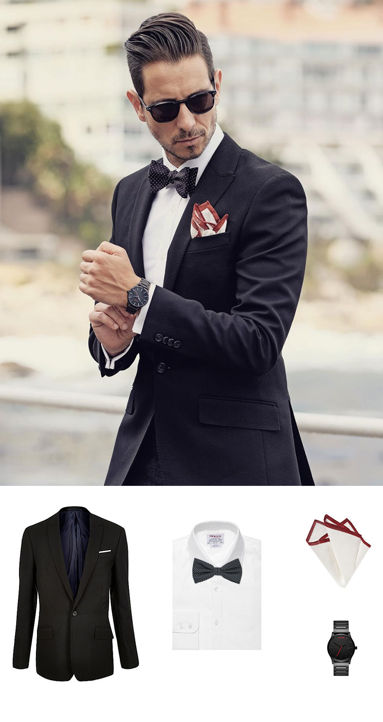 Modern Menswear With A Pin Dot Bow Tie