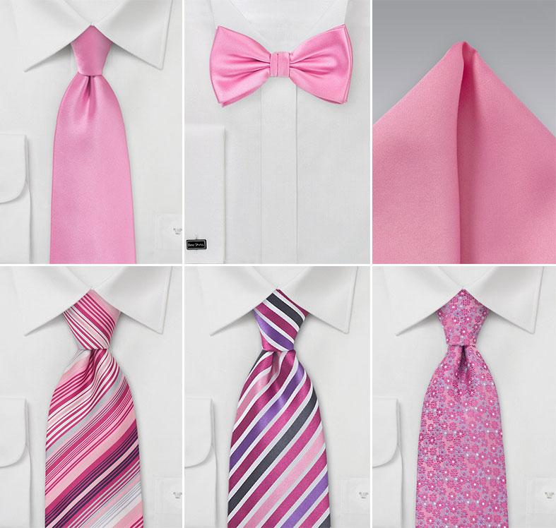 Groomsmen Ties in Petunia Pinks