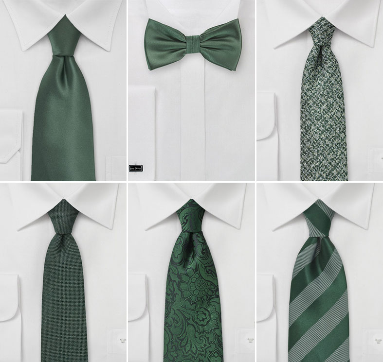 Foliage Green Groomsmen Ties