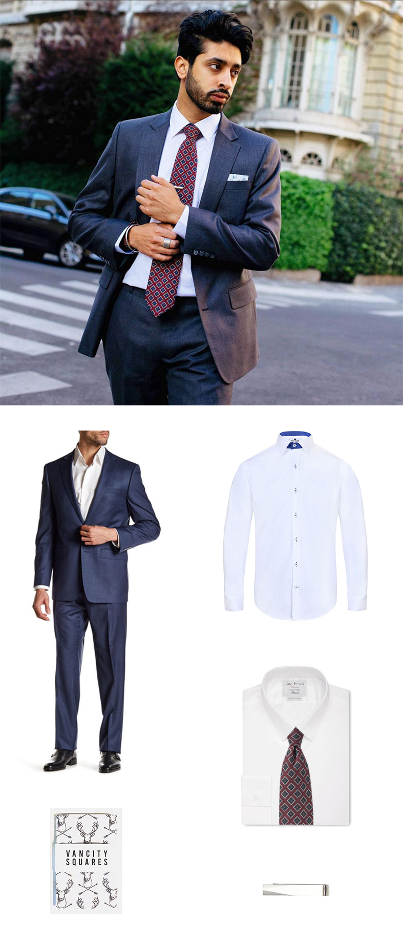 Medallion Wool Tie and Suit