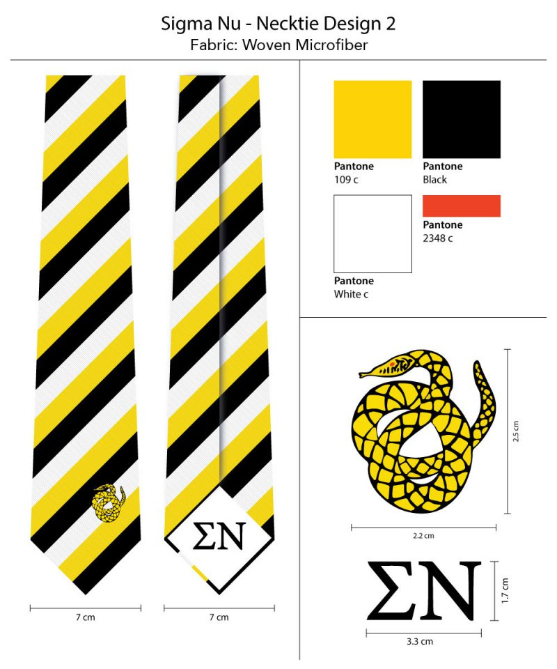 Sigma Nu Striped Mens Ties