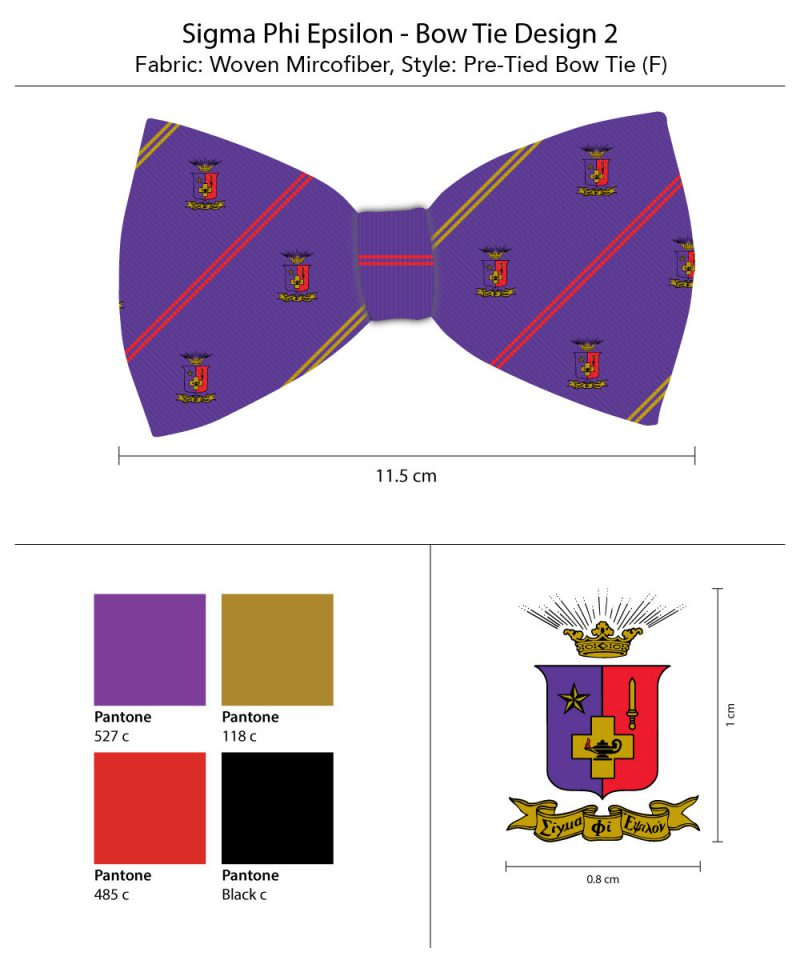 Sigma Phi Epsilon Striped Bow Tie