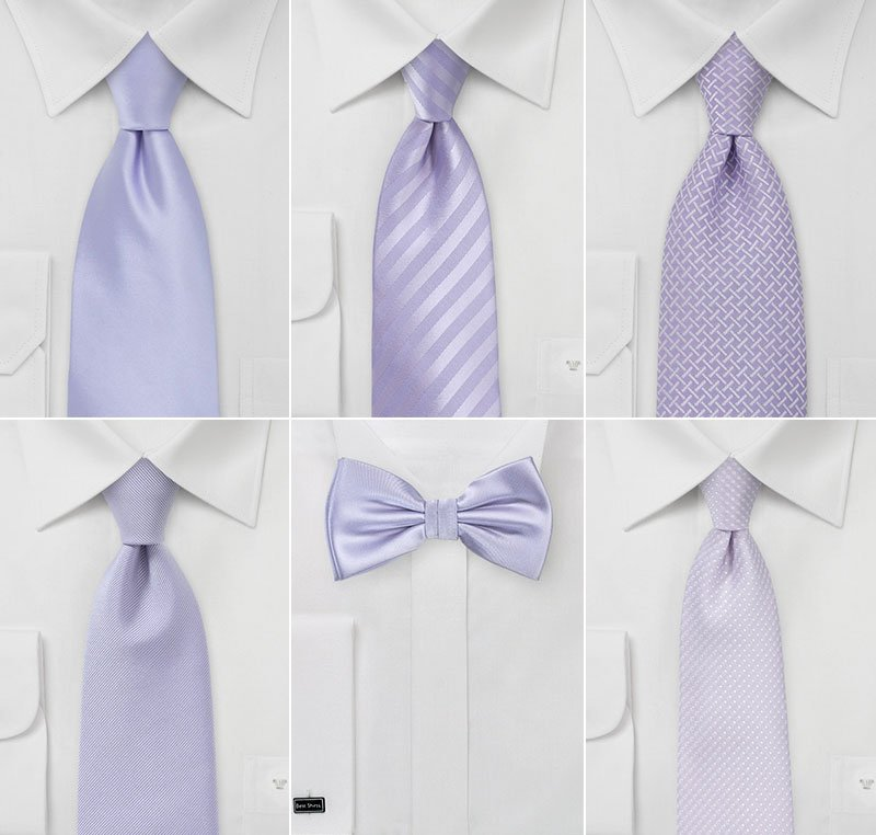 Groomsmen Ties in Pastel Purple