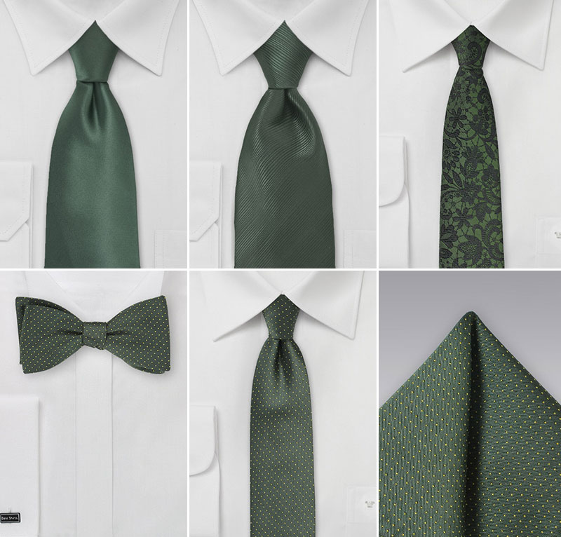 Winery Wedding Ties in Greens