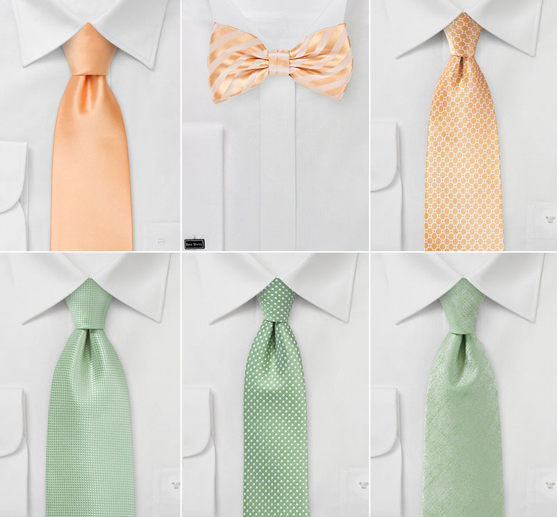 Wedding Ties in Sage and Peach