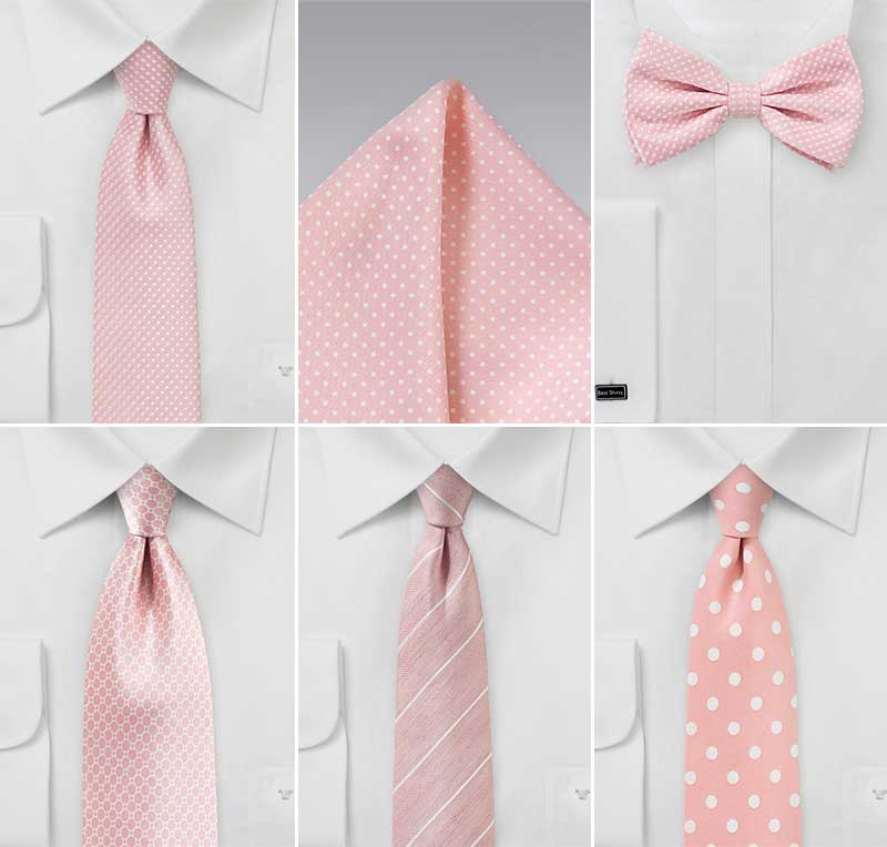 Groomsmen Accessories In Peony Pinks