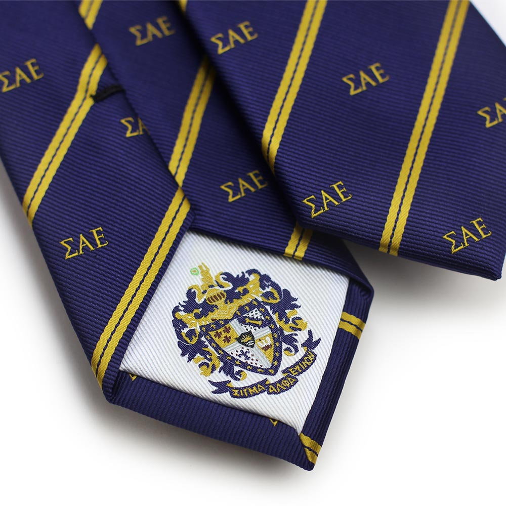 Crested Striped Skinny Fraternity Tie For Sae Bows N