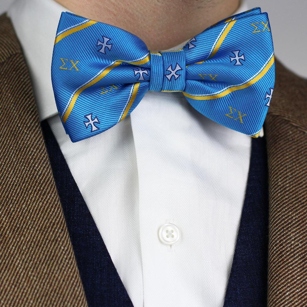 Sigma Chi Men's Pre-Tie Bow Tie Styled