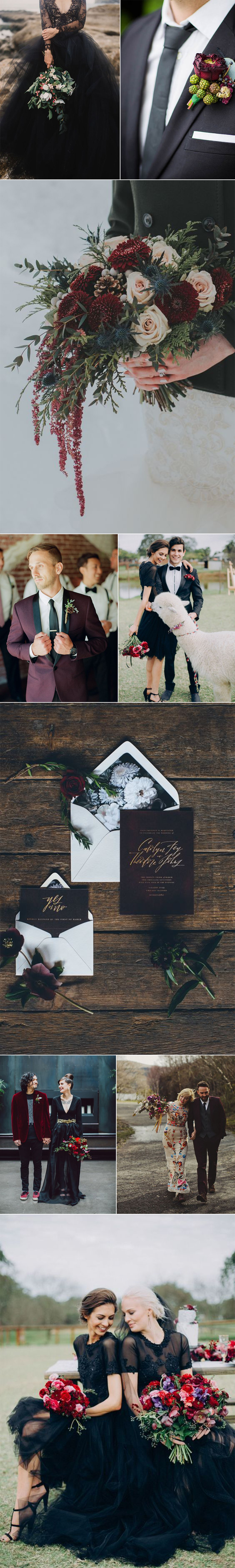 Winter Wedding In Black and Burgundy