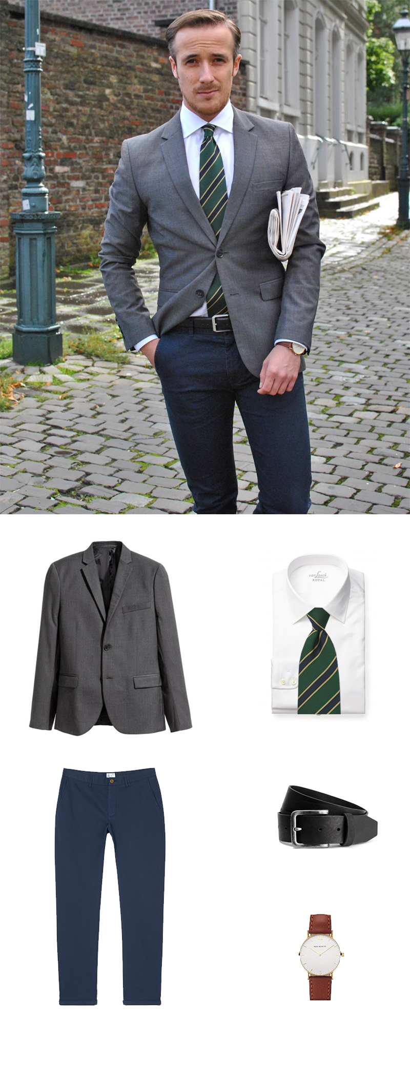 British Green Striped Tie