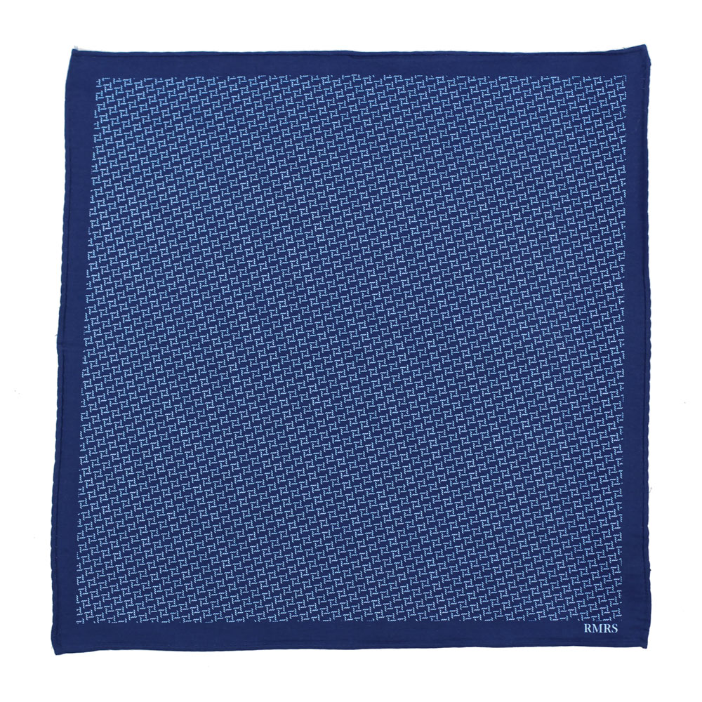 blue cotton printed pocket square