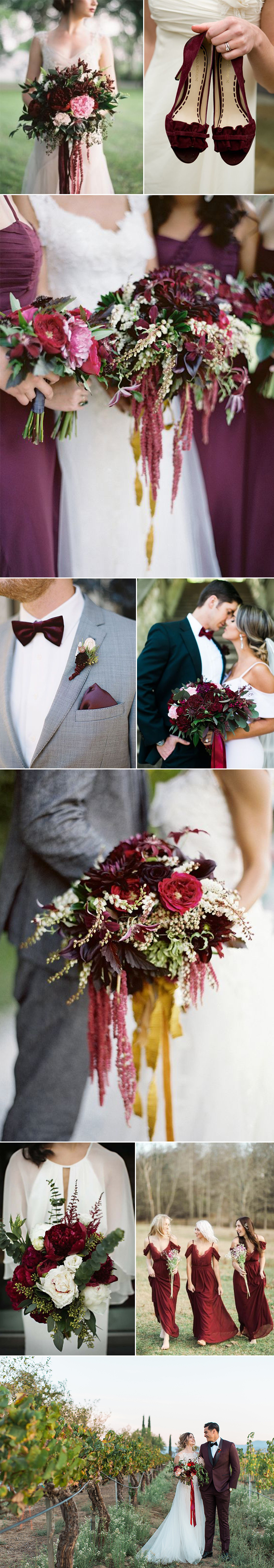 Winter Wedding in Bordeaux Reds