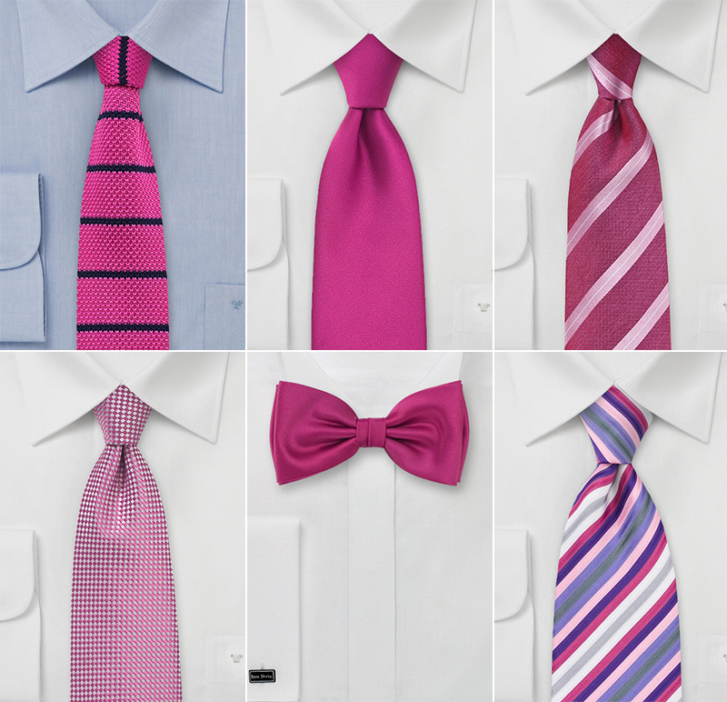 Modern Pink Wedding Ties