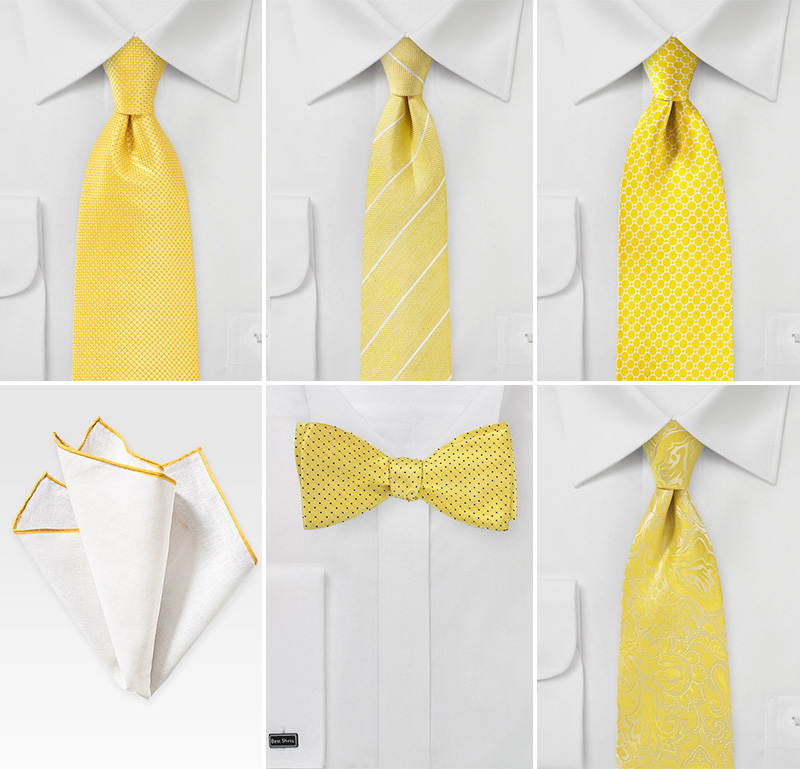 Yellow Wedding Neckties and Bowties