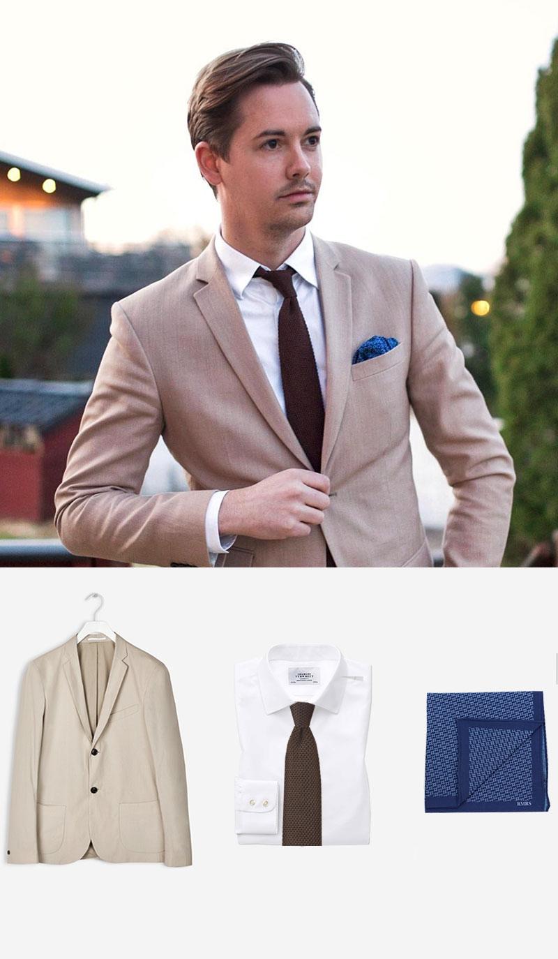 Skinny Knit Tie in Brown