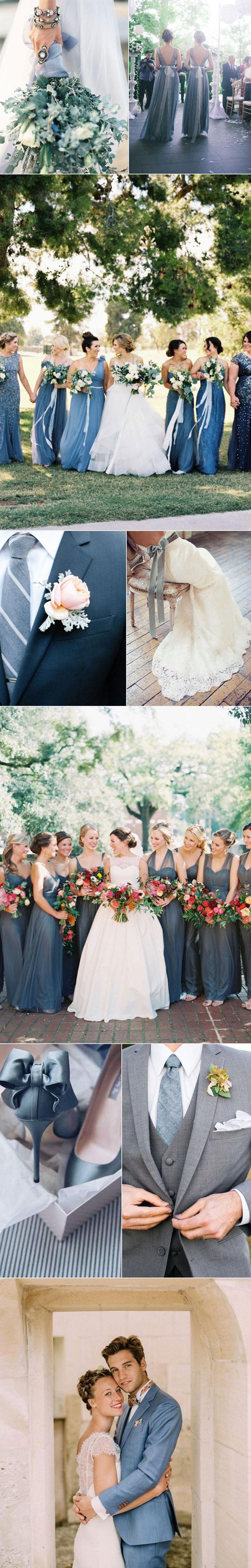Wedding Inspiration In Slate Blue Wedding Neckties In Slate Blue