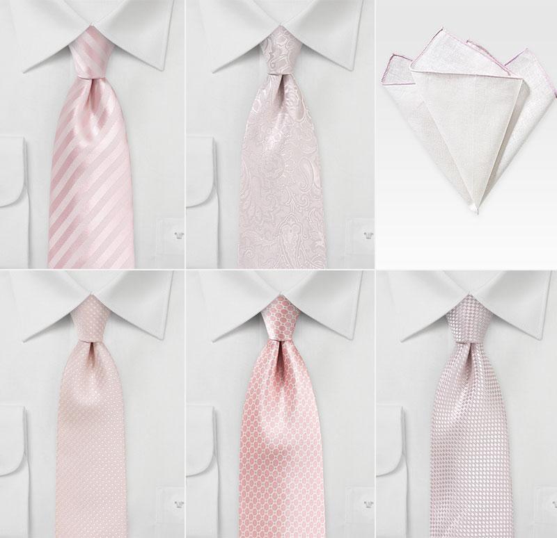 Groomsmen Ties in Pinks