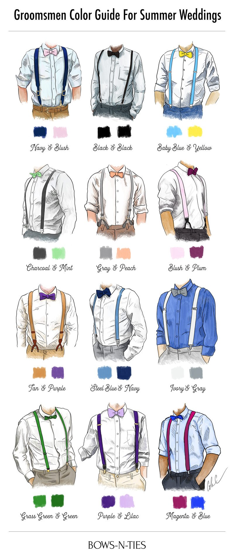 dfe48ea82c06 Groomsmen Wedding Color Guide | How To Pair Wedding Suspenders With ...