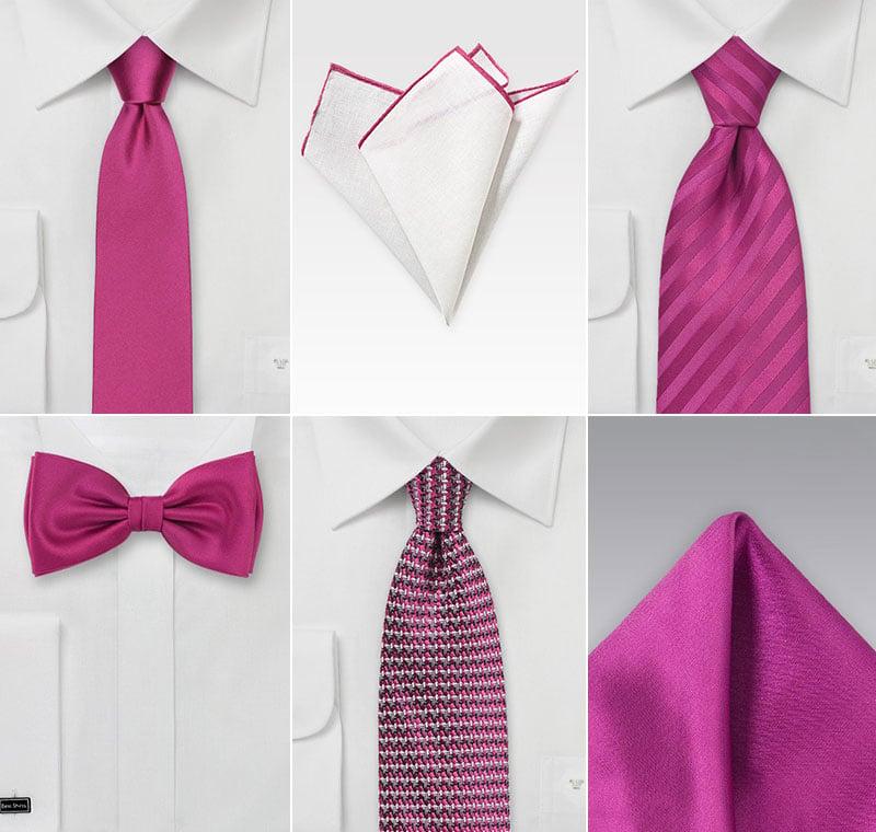 Groomsmen Accessories in Fuschia Pink