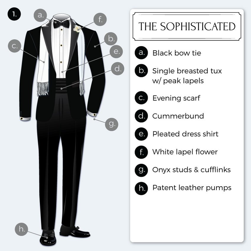 sophisticated black tie attire