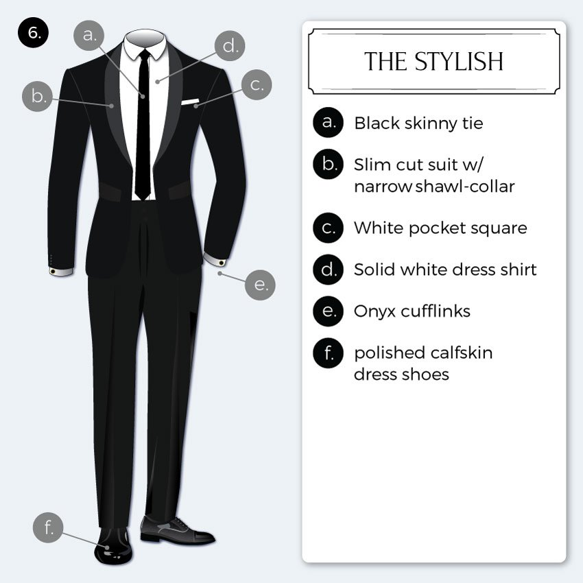 Stylishly modern black tie attire