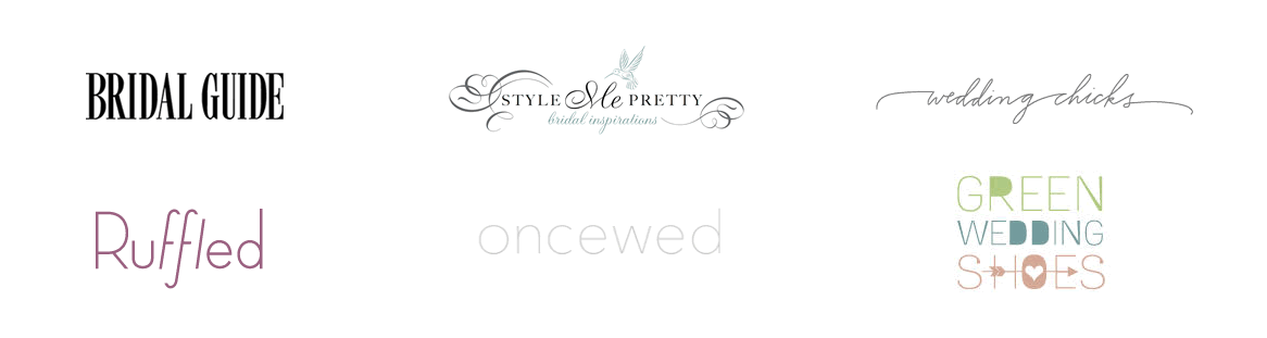 Bows'n'Ties Press Logos: As seen on Bridal Guide, Stylemepretty, Green Wedding Shoes,...