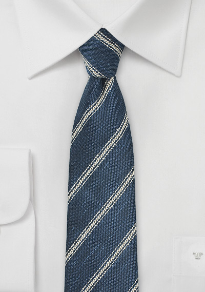 8bfc1b045a50f Skinny Linen Tie in Indigo and Cream | Bows-N-Ties.com
