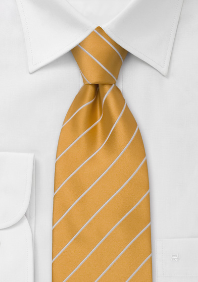 Mens Necktie in Orange-Yellow With White Stripes