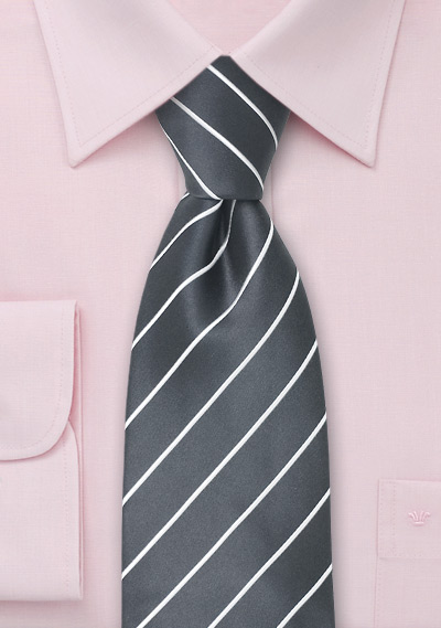 Dark Silver Striped Necktie