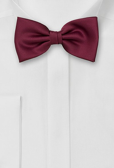 Solid Burgundy Red Bow Tie
