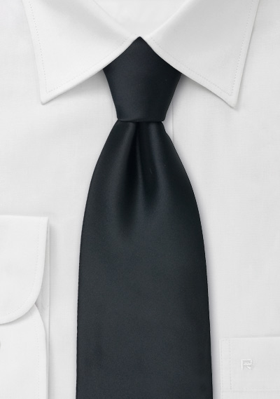 Solid Black Tie in Extra Long Length