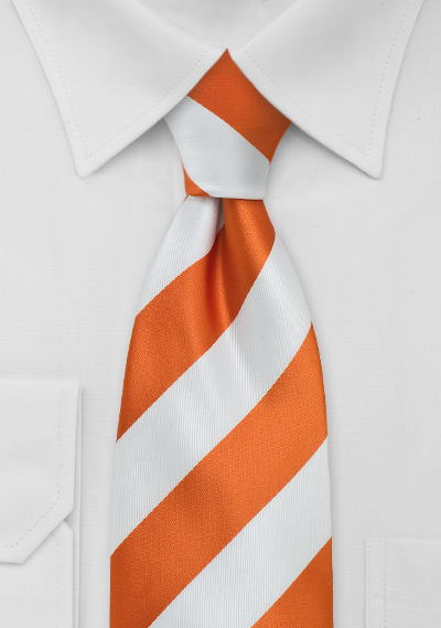 Orange and White Striped XL Tie