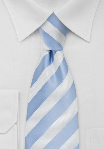 Mens Striped Tie Light Blue White