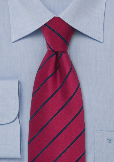 Raspberry Red and Blue Necktie