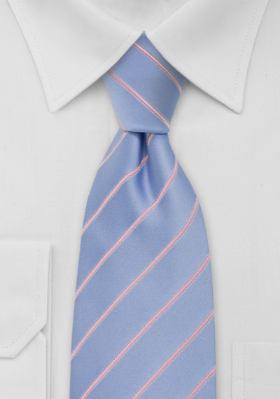 Baby Blue and Pink Striped Neck Tie