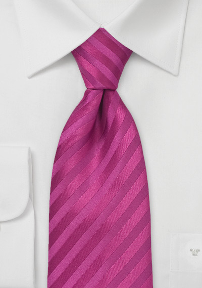 Striped Tie in Deep Magenta