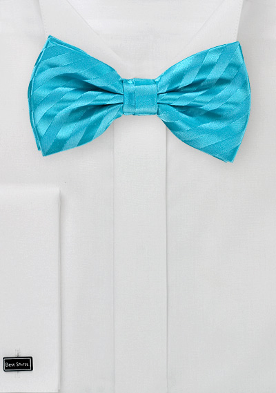 Striped Men's Bow Tie in Aqua Blues