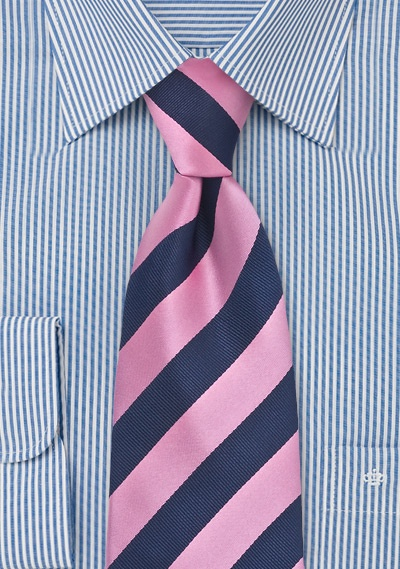 Navy and Rose Striped Tie