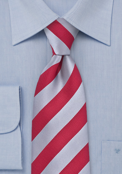 Elegant Striped Tie Red Silver