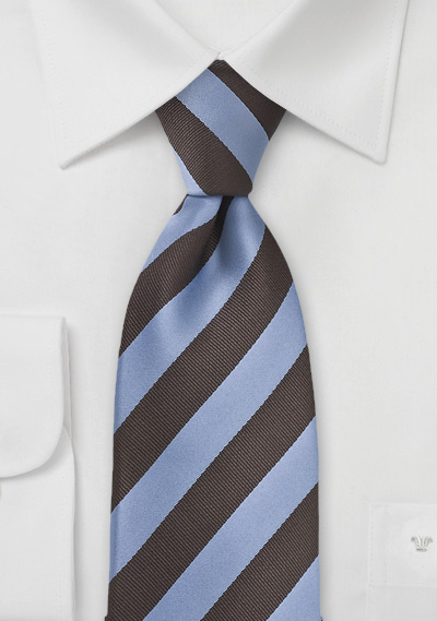 Striped Extra Long Tie in Blue and Brown