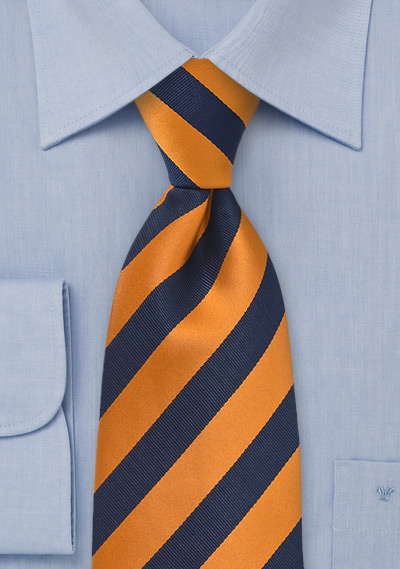 Tangerine Orange and Navy Tie in XL Length