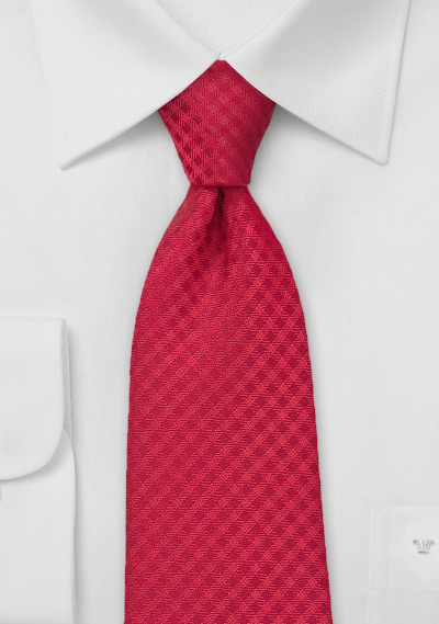 Micro Gingham Check Tie in Red